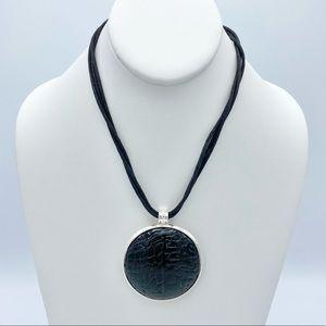 Gothic Faux Reptile Amulet Pendant Corded Necklace